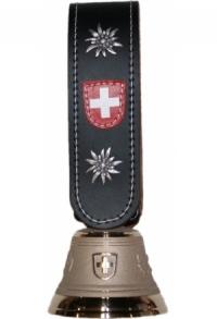 Echte Glocke Bronze, Riemen mit Edelweiss, umnäht, Nr. 12 H