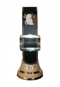 Echte Glocke Bronze mit Riemen Kuh geschnitzt, Nr. 22 H