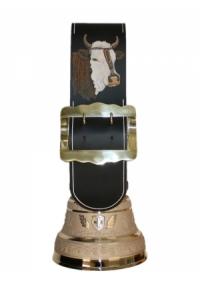 Echte Glocke Bronze mit Riemen Stier geschnitzt, Nr. 24 H