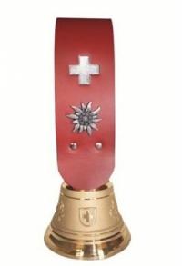 Echte Glocke Bronze mit Riemen rot, Nr. 9