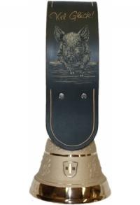 Echte Glocke Bronze mit geschnitztem Riemen Glücksschwein,..