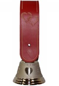 Echte Glocke Bronze mit geschnitztem Riemen Doppelherz, Ri..