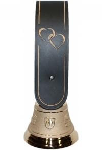 Echte Glocke Bronze mit geschnitztem Riemen Doppelherz, go..