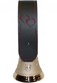 Echte Glocke Bronze mit geschnitztem Riemen Doppelherz, ro..