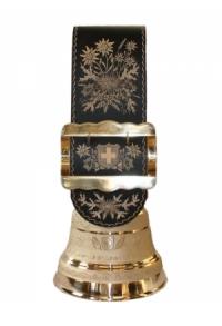 Echte Glocke Bronze mit handgeschnitztem Riemen Alpenblume..