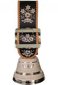 Echte Glocke Bronze, Riemen Alpenblumen, 61 cm